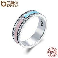 BAMOER Hot Sale Genuine 925 Sterling Silver Light Color Enamel Clear CZ Finger Rings For Women