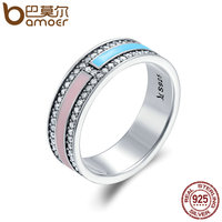 BAMOER Hot Sale Genuine 925 Sterling Silver Light Color Enamel Clear CZ Finger Rings For Women
