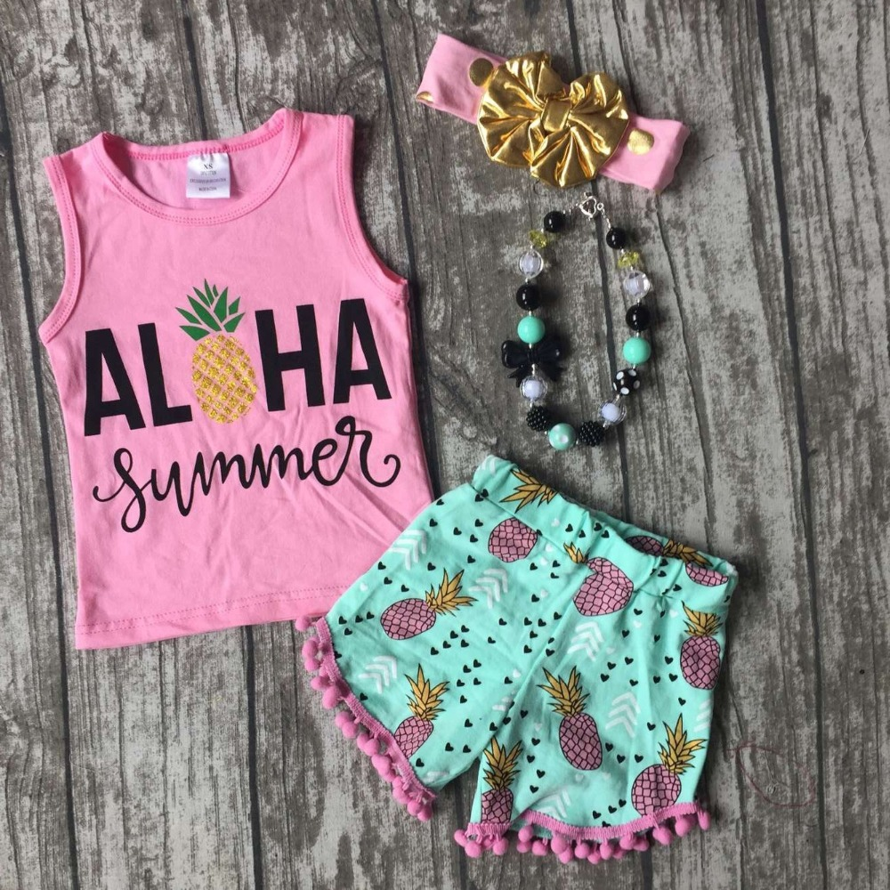 baby Girls Summer clothes girls ALOHA summer pineapple outfits children kids pink top with pineapple shorts with accessories billabong лиф aloha yo bandeau