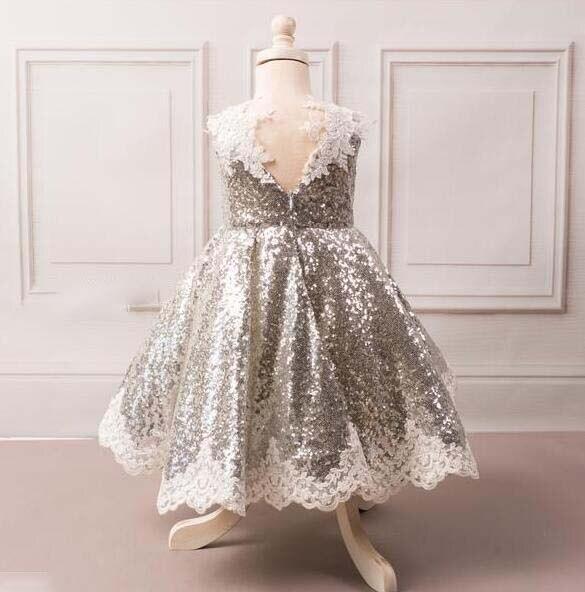 Mode v-cou princesse bling argent paillettes enfant en bas âge pageant robe de demoiselle d'honneur pour la fête d'anniversaire avec des cristaux de dentelle - 4