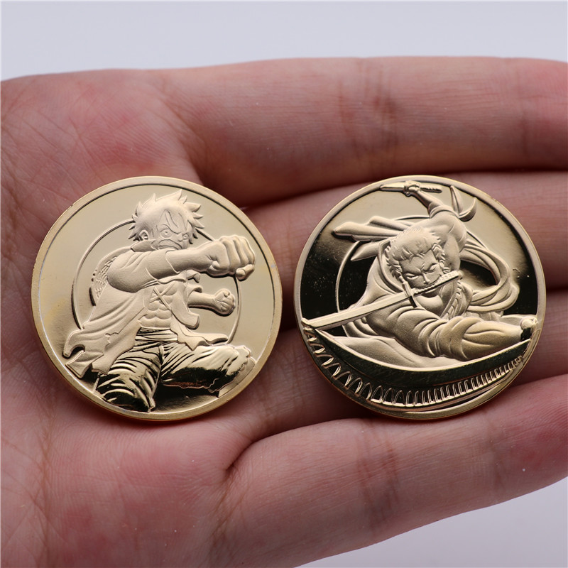 Anime One Piece Collect Coin Monkey D Luffy Roronoa Zoro Cosplay Badge Logo Golden Coin Originality Funny Fancy Christmas Gift