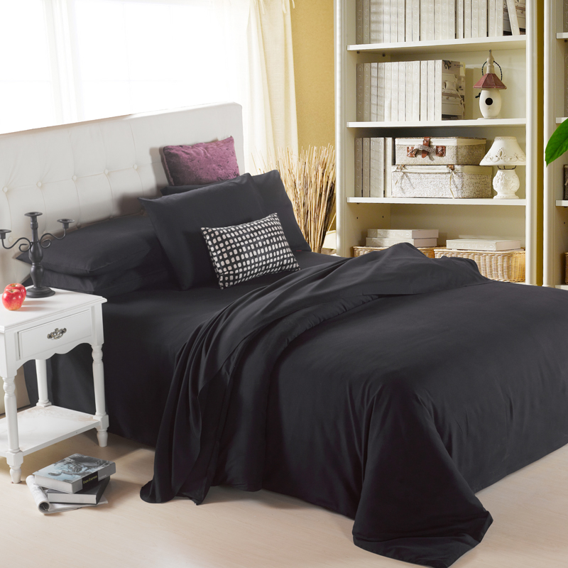 Big Discounts Plain Russia USA Size Duvet Cover Sets Soft Bedding Sets Quilt Cover Set Home Textiles Black Gray White
