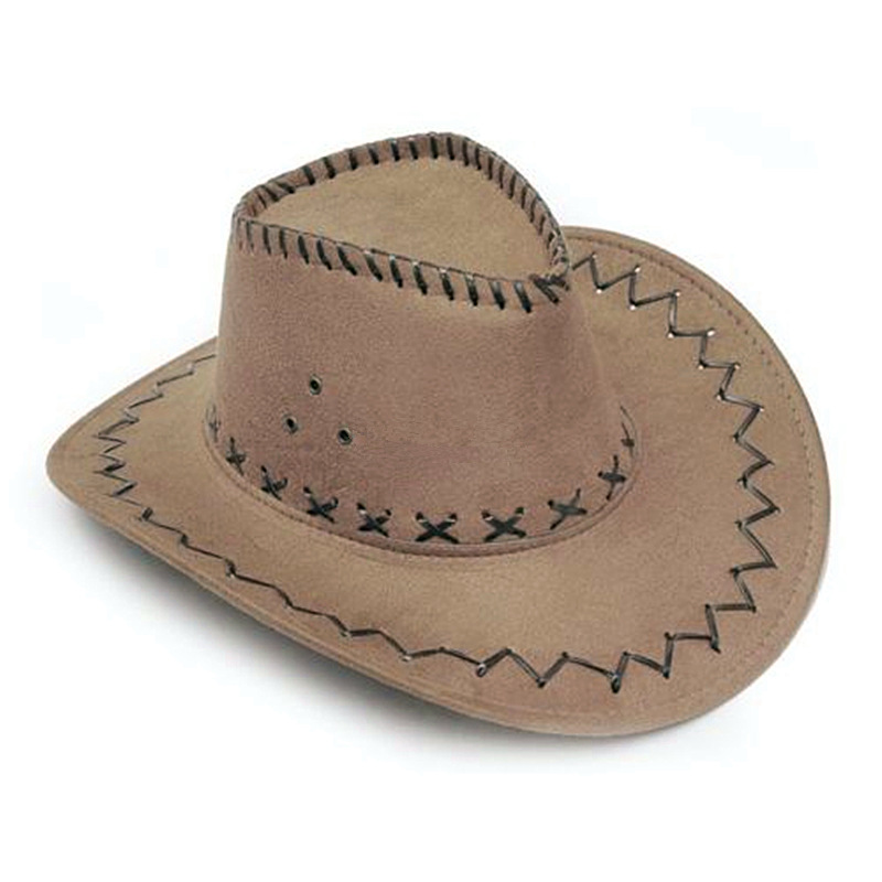Cowboy Hat Look Wild West Unisex Suede For Men Ladies Cowgirl Fancy Head Cap New