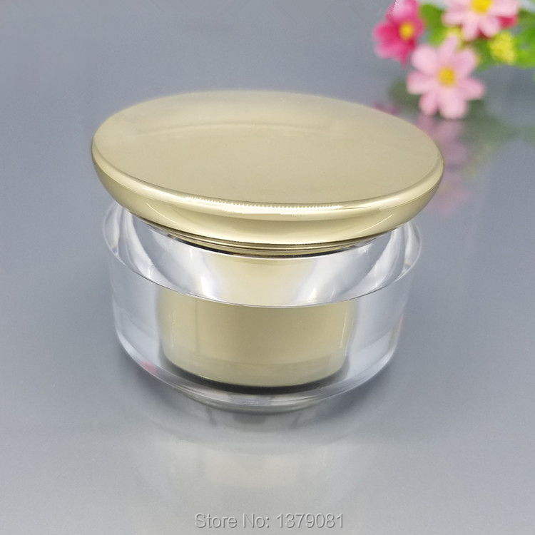 10pcs High Quality 20g.30g.40g.50g Acrylic Gold Cosmetic Jar,30ml.50ml.80ml Gold Lotion Pump Bottle,Empty Cosmetic Packaging Box high quality pearl white acrylic cream jar gold cap empty cosmetic container jar lotion pump bottle 30g 50g 30ml 50ml 120ml
