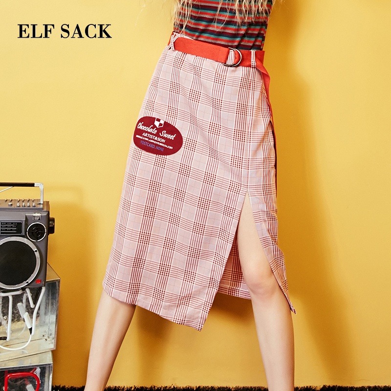 ELF SACK Casual Plaid Pleated Knee-Length Skirt E17004