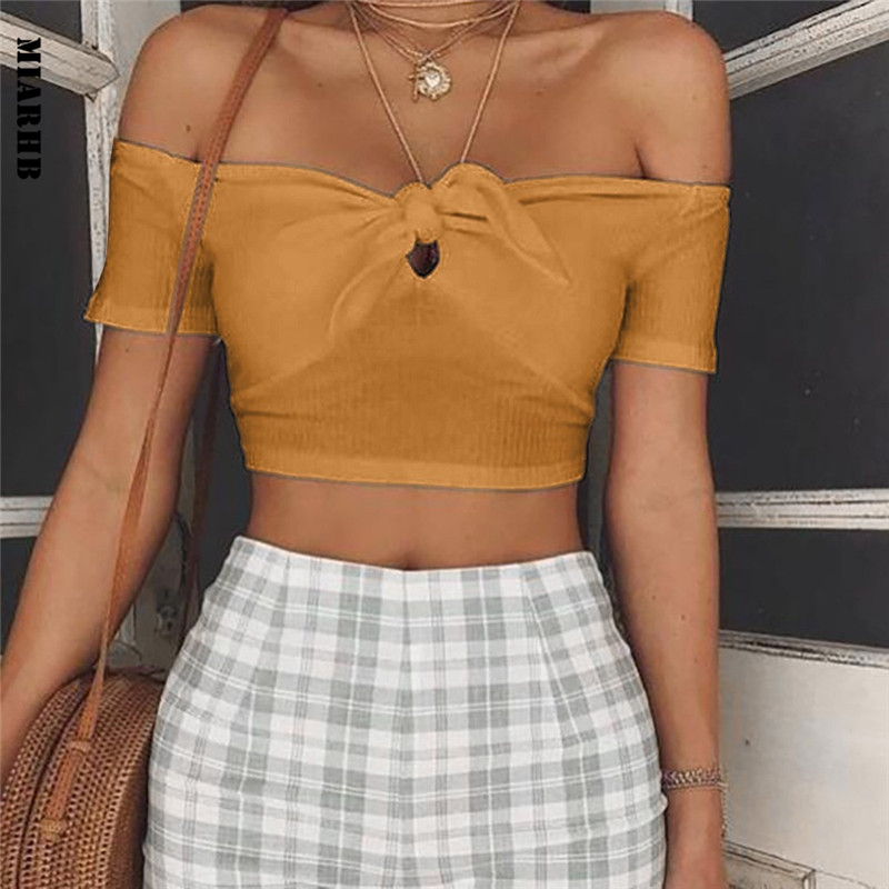 Sunfree Women Solid Bow   Tank     Top   INS Style Strapless Vest 2019 New Spring   Tank     Top   Crop Sexy   Tops   Hot Sale 3L45