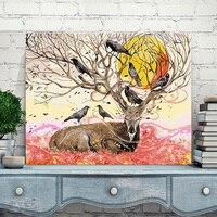 Mahuaf-a023 diy olieverf by numbers vogels op herten hoofd sunshine coloring by nummers op canvas decor 40x50 cm ingelijst