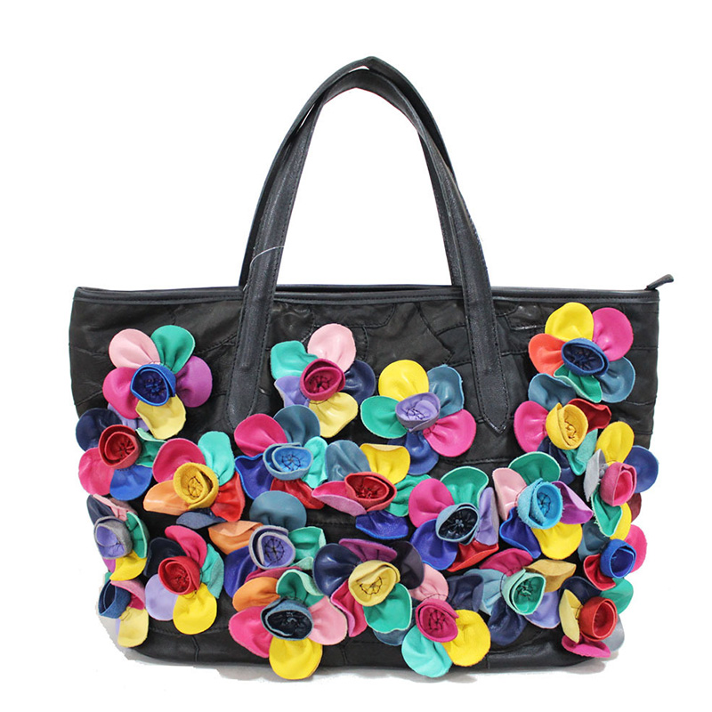 Hot Sell 2016 New Fashion Flower Tote Bag Women Handbag Sheepskin Famous Brand Designer Ladies Casual Totes Bolsos Feminina hot sell new