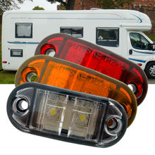 2x12V DC LED Side Marker Light Surface Mount Clearance Lamp for RV Boat Yacht Caravan Amber/Cool White/Red