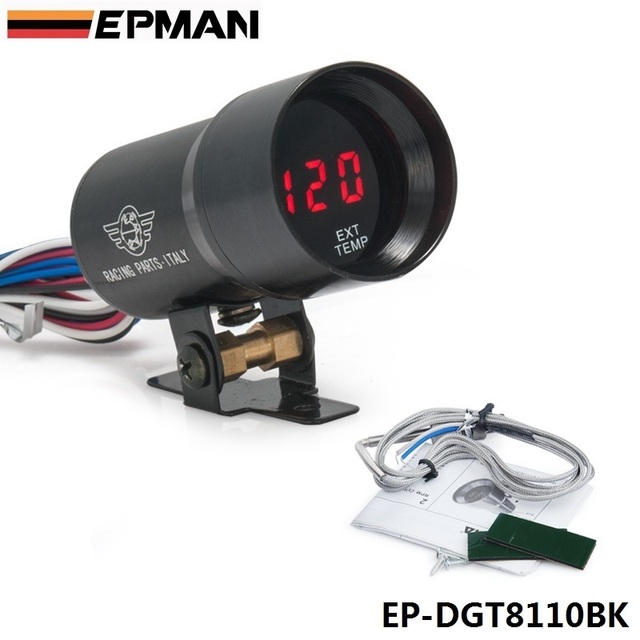 EPMAN-37mm Smoke Exhaust Gas Temperature EGT Gauge Red Digital Shift Light Style Gauge Meter Pod Red LED Black EP-DGT8110BK