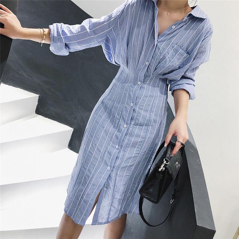 Autumn Women Dress Korean Style Slim Waist Striped Shirt Dress Long Sleeve Knee Length Ladies Elegant Midi Dress Vestidos Jurken