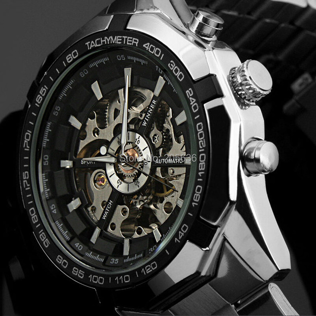 cbbdf1c14bf One year warranty Original Brand Winner Stainless Steel Automatic  Mechanical Watch Men Skeleton Wrist Watch Relogio Masculino
