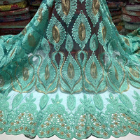 mint green African net lace fabric with embroidery 5yards French lace fabric with guipure lace borders for party dress FAL010