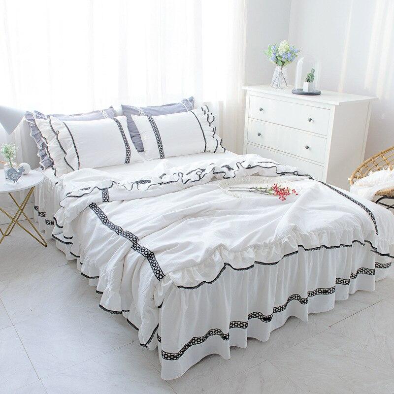 Babados conjunto de capa de edredon conjunto de cama 100% algodão lavado 3/prinecess 4 pcs bedskirt cama roupa de cama preto e branco conjunto de folha de cama de Adulto