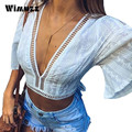 Wimuzz Vogue Women Flare Sleeve Embroidery Blouses Backless Sexy Crop Top White Backless Short Linen Shirt Woman