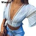 Wimuzz vogue mujeres flare bordado blusas sin espalda sexy crop top sin espalda blanca de manga corta camisa de lino de la mujer