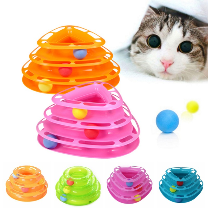 Cat Toys Interactive Disk Plate Ball Cat Pet Funny Toys Crazy Trilaminar Turntable Amusement Plate