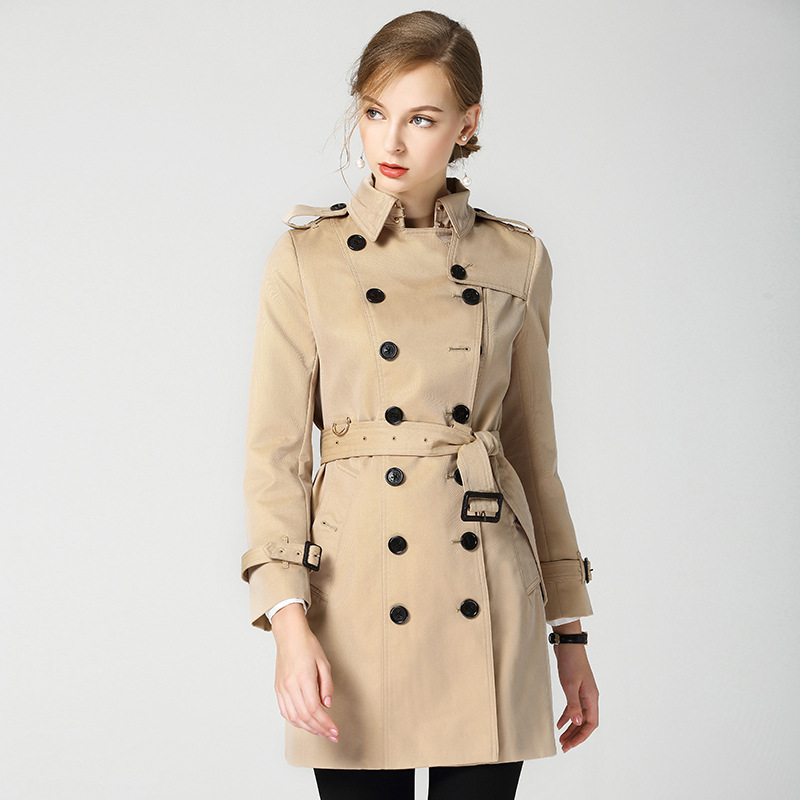 2018 New Luxury the best quality trench Coat for Women British Style Mid long Trench anti-wrinkle double breasted overcoat