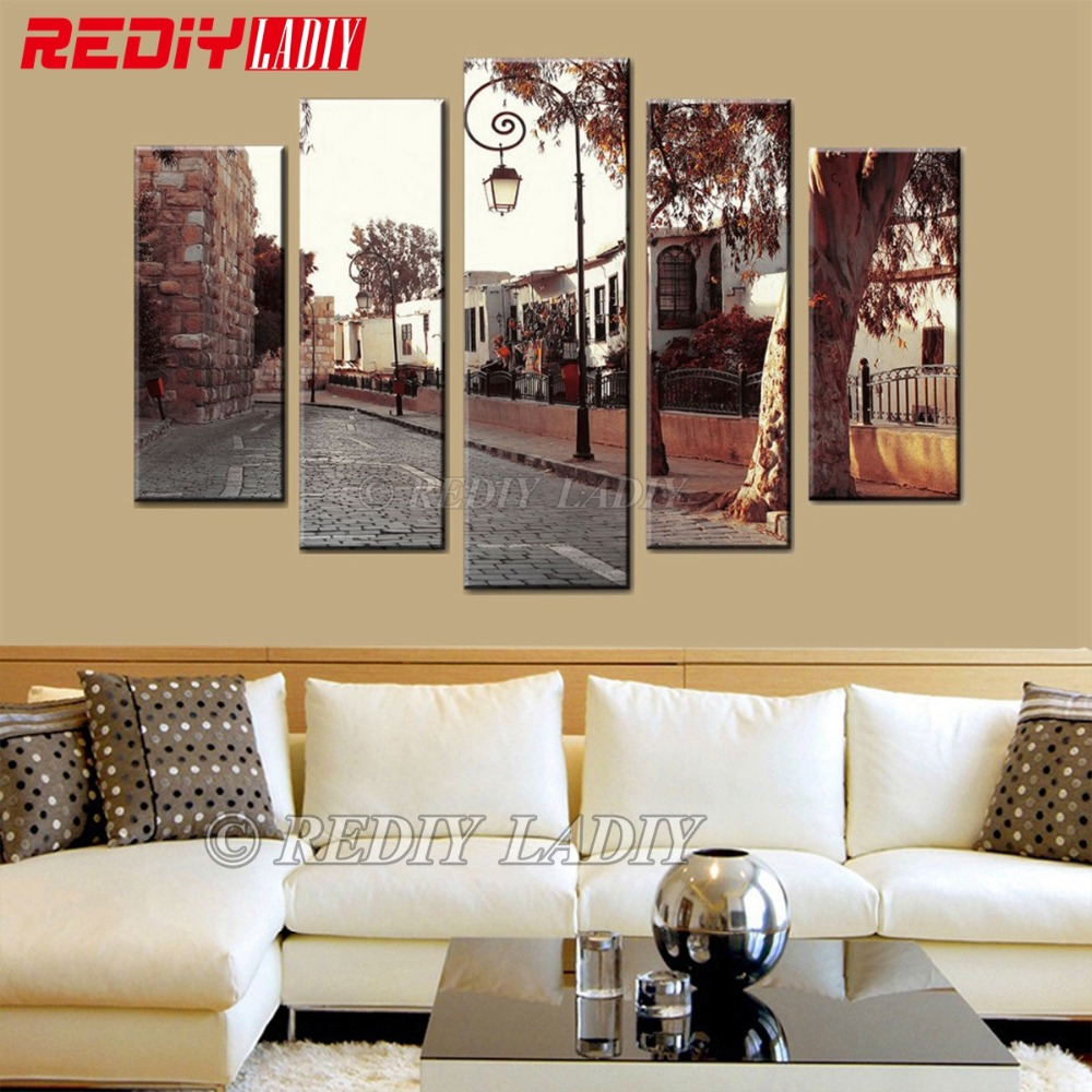 Diamond Painting Triptych Full Diamond Embroidery Country Road 5 Panels Modular Picture Wall Art Rhinestones Cross