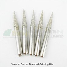 цена на 5pcs #12 diamond mounted points grinding head 6x25MM, Rotary carving burrs Engraving bits