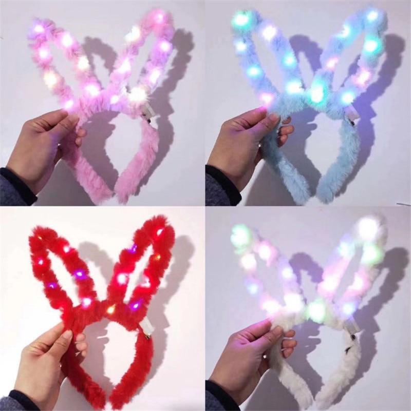 Kreative Plüsch Licht Up Spielzeug Led Leucht Spielzeug Shiny Plüsch Kaninchen Ohren Beleuchtung Stirnband Kinder Leistung Kaninchen Mädchen