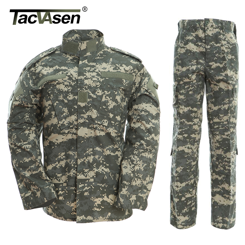 TACVASEN Army Military Uniform ACU Camouflage Hunt Tactical Military Bdu Combat Uniform US Army Men Clothing Set TD-WHFE-005