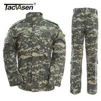 TACVASEN Army Military Uniform ACU Camouflage Hunt Tactical Military Bdu Combat Uniform US Army Men Clothing Set TD WHFE 005