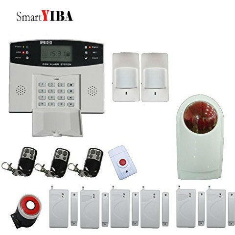 SmartYIBA Home Security Alarm System GSM SMS Burglar Alarm Door Open Alarm System+Loudly Red Flash Siren+Emergency Alarm Button