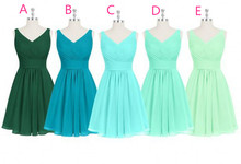 Cheap 2016 Short Party Dress for Wedding Simple Style Custom Made V Neck Summer Bridesmaid Dresses
