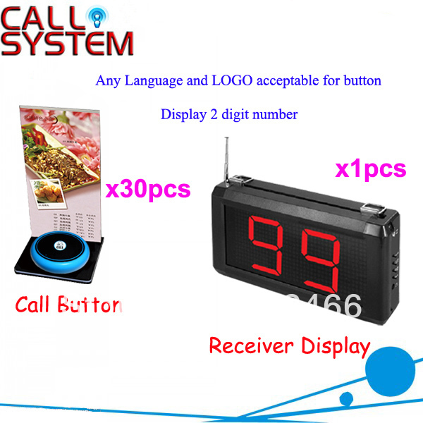 Wireless Call Bell System for Restaurant Cafe Service Any Language Any LOGO Acceptalbe for buttonFree Shipping