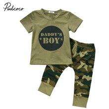 Детская одежда для новорожденных и малышей из 2 предметов, зеленая армейская футболка для мальчиков и девочек с надписью, топы, камуфляжные штаны, комплект одежды, 0-24 месяца