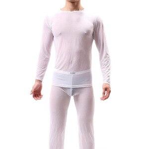 Image 3 - Kwan. z pijama hombre 얇은 투명 섹시한 남성 속옷 잠옷 잠옷 긴 소매 잠옷 남성 메쉬 편안한 세트