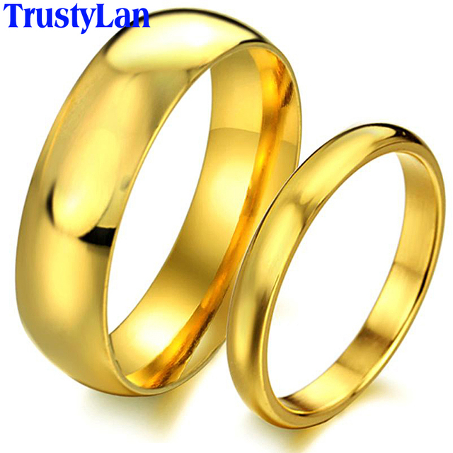 TrustyLan Fashion Brand Rings Simple Design Couple Rings Gold