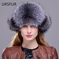 Hot Women Winter Fur Hat Real Fox Fur & Leather Headgear Russian Cossack Style Warm Ear Bomber Cap with Fur Ball Pom Poms