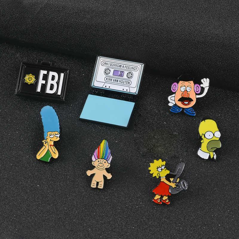 Il Signor Burns Lisa Homer Jay Marge Kirk X-Lime Fbi Fox Mulder Troll Bambola di Vibrazione Smalto Spille Spilli
