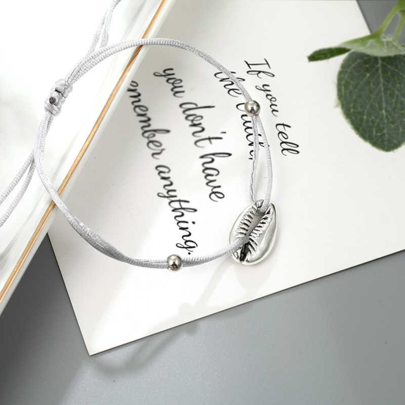 כסף פגז אלסטי צמיד בוהמי סגנון נשי קסם חרוזים טאסל צמיד אופנה חוף פגז תכשיטים סיטונאי