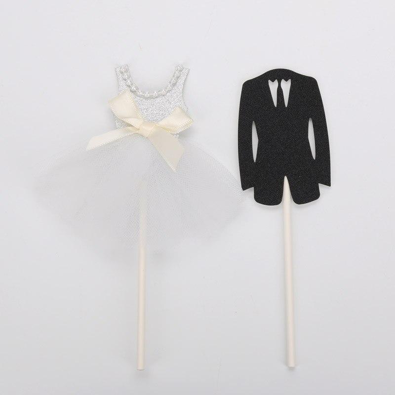 Wedding Cake Topper Lovely Wedding Dress Suit Bride Groom ...