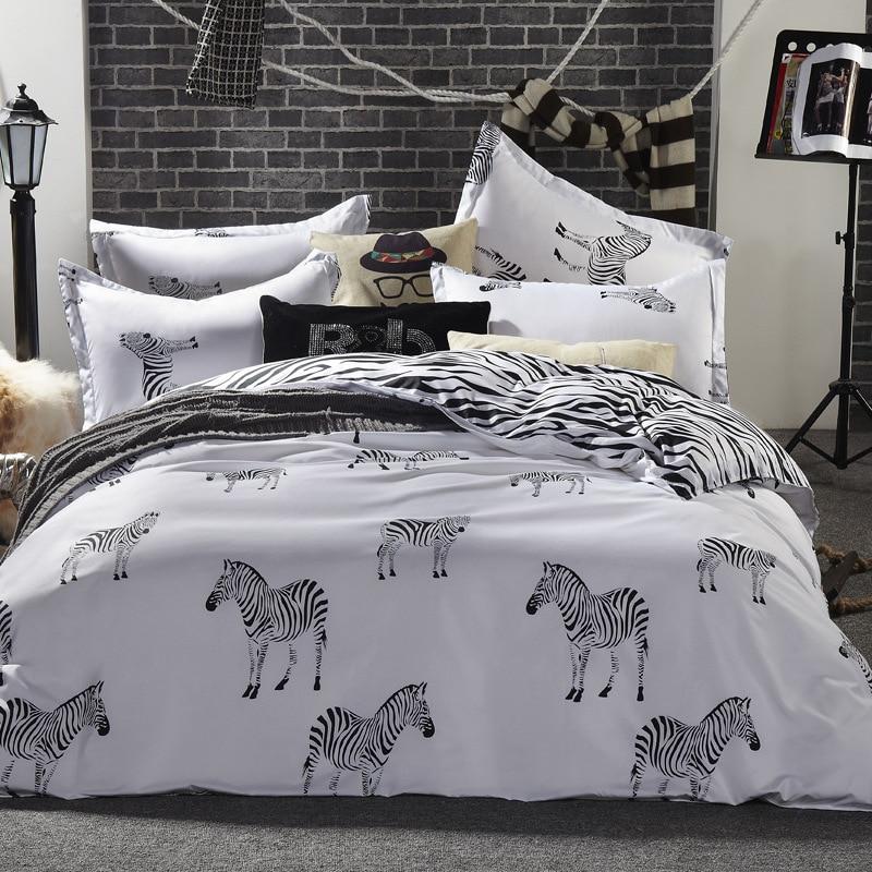 Cotton Oversize Zebras and stripes 4pcs Beddings bed sheet +duvet cover + pillowcases queen king kids size-luxury bed line setCotton Oversize Zebras and stripes 4pcs Beddings bed sheet +duvet cover + pillowcases queen king kids size-luxury bed line set