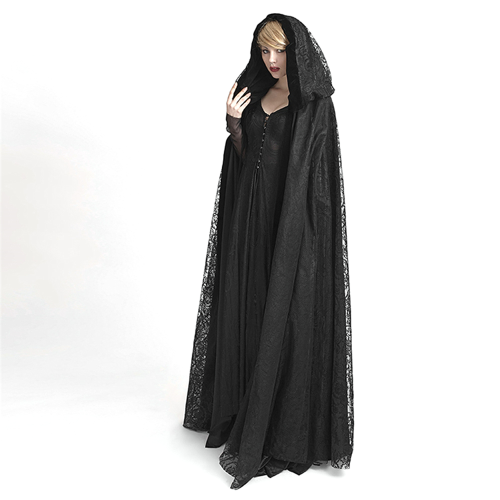 Steampunk Womens Witch Cape Black Hooded Lace Long Coat Priestess Halloween Costume Maix Cloak Cape
