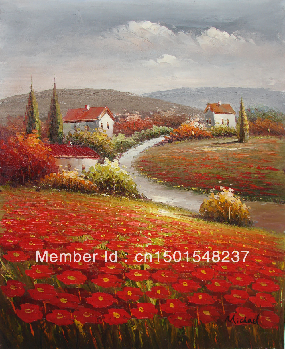 Red Poppy Flowers Tuscany Italian Farm French County Home