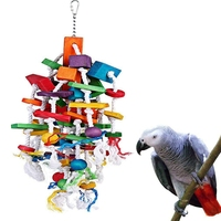 Pet Parrot Toys Wooden Hanging Cage Toys for Parrots Bird Funny Hanging Standing Toy Pet Bird Training Supplies Z