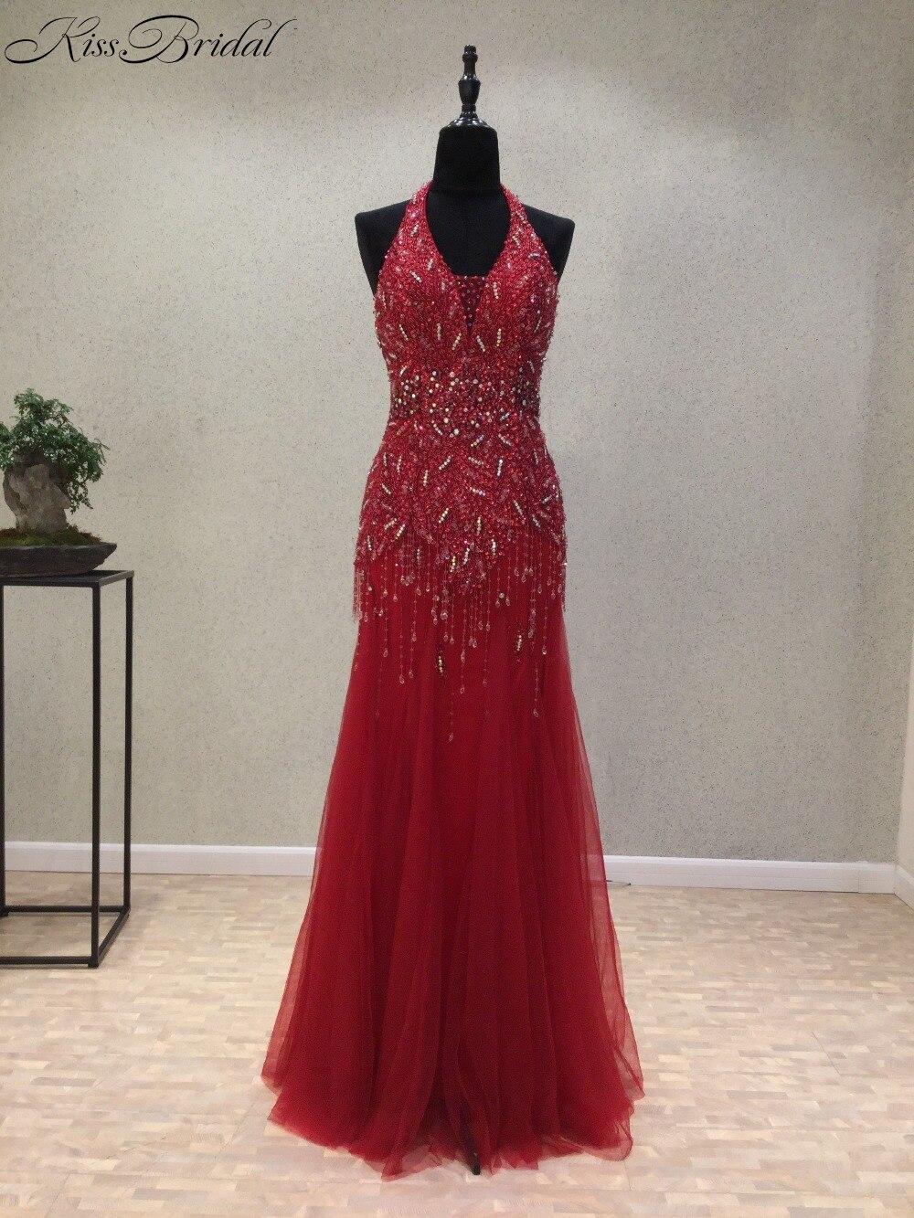 New Sexy Long   Prom     Dresses   2018 Halter Neck Sleeveless Floor Length Beading Tulle Mermaid Evening   Dress   Long Formal Gowns