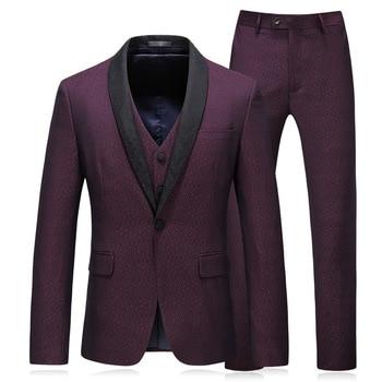 2019 Autumn New Men's Suit Korean Version of the Self-cultivation Three-piece Suit Casual Business Dress Suit