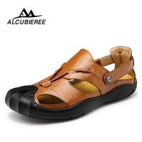 Leather Men Sandals Summer New for Beach Male Shoes Mens Gladiator Sandal Leather Sandals