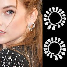 SISCATHY Charms Women Girls Earrings Luxury Goegeous Cubic Zirconia Statement Stud Jewelry Party Wedding Accessories