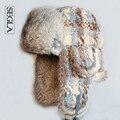 SEGLA Men and Women Bomber Hat Real Rabbit Fur Earflaps Aviator Hats Winter Snow Ski Cap Wool Knit Russian Ushanka Trapper Hat