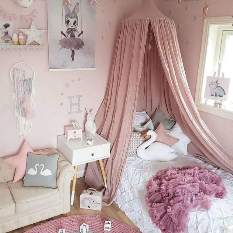 Baby Crib Bed Mosquito Net Cotton Bed Canopy Babybett Mosquito Net Curtain Infant Boys Girls Baby Room Decoration Chambre Enfant цена