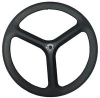 Free Shipping 700C 50mm Depth 3 Spokes Clincher Tubular Carbon Wheels Tri Spoke For Track Time