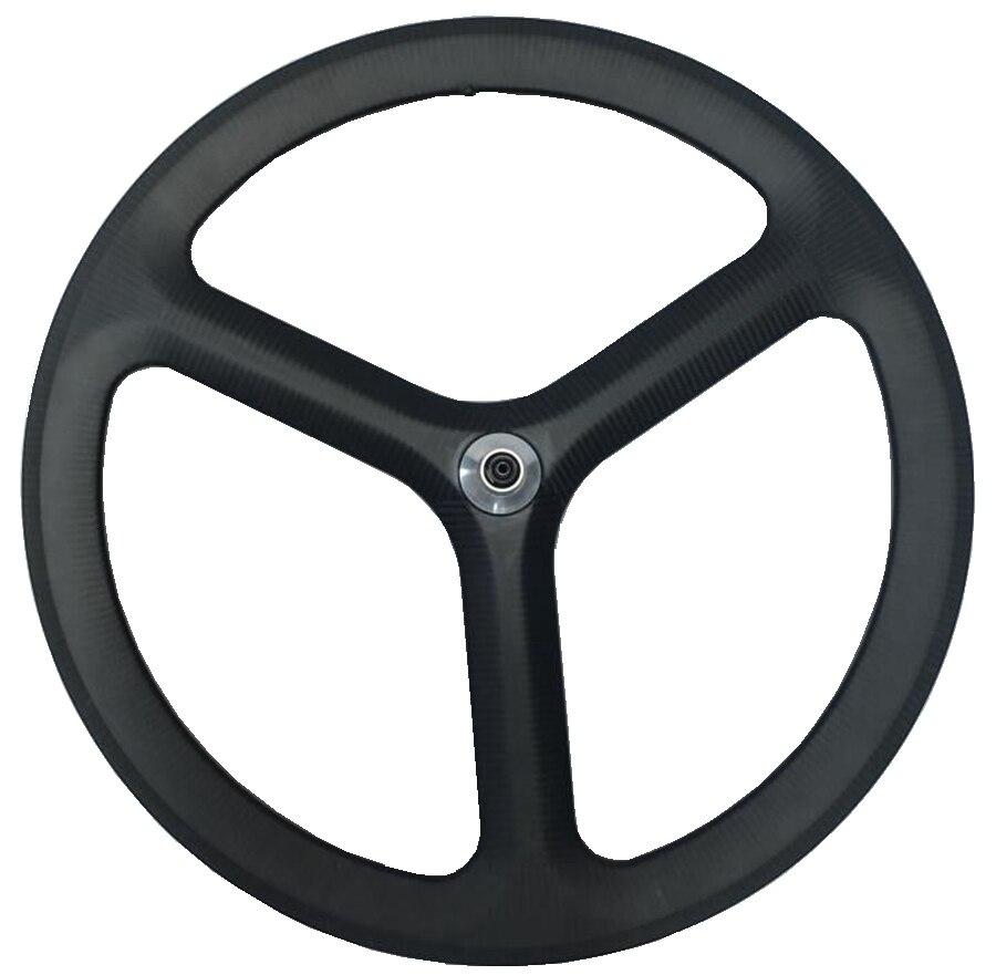 Free shipping 700C 50mm depth 3 Spokes Clincher/Tubular carbon wheels tri-spoke for Track/ time Bike 3K twill matte finish