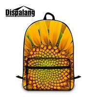 Dispalang 노란색 국화 꽃 여자 학교 backbag mochilas feminina 여성 여행 배낭 사용자 정의 노트북 백팩